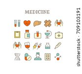 different medical thin line... | Shutterstock .eps vector #709103191