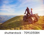 rear view of young pair near... | Shutterstock . vector #709105084
