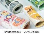 currencies and money exchange... | Shutterstock . vector #709105501