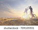 happy couple goes on a mountain ... | Shutterstock . vector #709105531