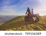 couple driving off road with... | Shutterstock . vector #709106389