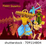 lord rama killing ravana during ... | Shutterstock .eps vector #709114804