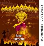lord rama killing ravana during ... | Shutterstock .eps vector #709114885