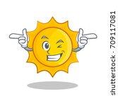 wink cute sun character cartoon | Shutterstock .eps vector #709117081