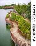 lorong halus bridge at punggol... | Shutterstock . vector #709121581