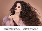 hairstyle. fashion brunette... | Shutterstock . vector #709124707