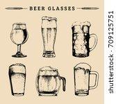 vector set of vintage beer... | Shutterstock .eps vector #709125751