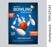 bowling game tournament poster... | Shutterstock .eps vector #709129141