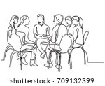 one line drawing of group of... | Shutterstock .eps vector #709132399