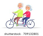elderly couple riding on bike.... | Shutterstock .eps vector #709132801