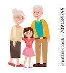 grandparents with granddaughter ... | Shutterstock .eps vector #709134799