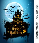 halloween night background... | Shutterstock .eps vector #709135651