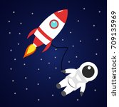 astronaut and red rocket in... | Shutterstock .eps vector #709135969