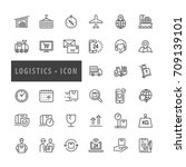 logistics icons set ... | Shutterstock .eps vector #709139101