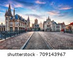 ghent  belgium at day  gent old ... | Shutterstock . vector #709143967