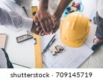 meeting the team of engineers... | Shutterstock . vector #709145719