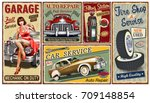 Stock vector set of vintage car metal signs garage filling station tire service retro posters 709148854