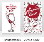 two posters for beaujolais... | Shutterstock .eps vector #709154239