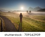 senior woman enjoying the... | Shutterstock . vector #709162939