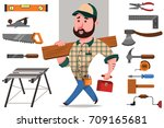 carpenter with a log and a set... | Shutterstock .eps vector #709165681