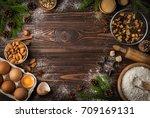 christmas bakery background.... | Shutterstock . vector #709169131