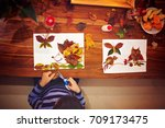sweet child  boy  applying... | Shutterstock . vector #709173475