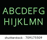 Green Neon Light Font. Letters...