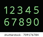 green neon light font. numbers  ... | Shutterstock .eps vector #709176784