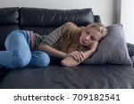 young lady is sleeping on the... | Shutterstock . vector #709182541
