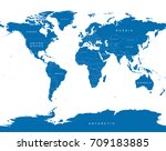 world political vector map with ... | Shutterstock .eps vector #709183885