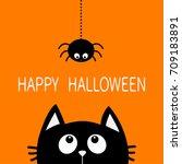 happy halloween. black cat face ... | Shutterstock . vector #709183891