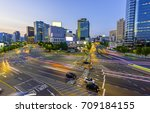traffic of seoul and night view | Shutterstock . vector #709184155