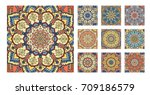 flower pattern tiles set.... | Shutterstock .eps vector #709186579