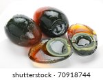 Preserved Duck Eggs On White...