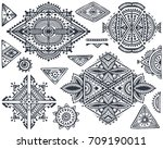 set of seven tribal art boho... | Shutterstock .eps vector #709190011