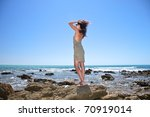 woman at coastside in cadiz... | Shutterstock . vector #70919014