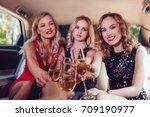 pretty women having party in a... | Shutterstock . vector #709190977