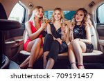pretty women having party in a... | Shutterstock . vector #709191457