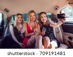women drinking champagne and... | Shutterstock . vector #709191481