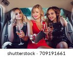 women drinking champagne and... | Shutterstock . vector #709191661