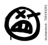 graffiti angry emoji sprayed in ...   Shutterstock .eps vector #709192591