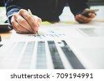 asian business man using... | Shutterstock . vector #709194991
