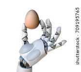 robot hand holding the egg 3d... | Shutterstock . vector #709195765