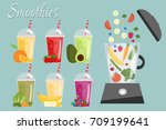 cartoon smoothies. orange ... | Shutterstock .eps vector #709199641