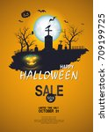 halloween sale . set of vector... | Shutterstock .eps vector #709199725