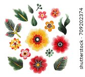 watercolor floral collection... | Shutterstock . vector #709202374