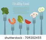 healthy food vector... | Shutterstock .eps vector #709202455
