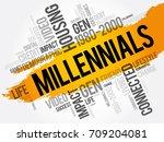 millennials word cloud social... | Shutterstock .eps vector #709204081