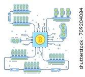 bitcoin farm concept vector... | Shutterstock .eps vector #709204084