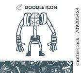 robot doodle | Shutterstock .eps vector #709205434
